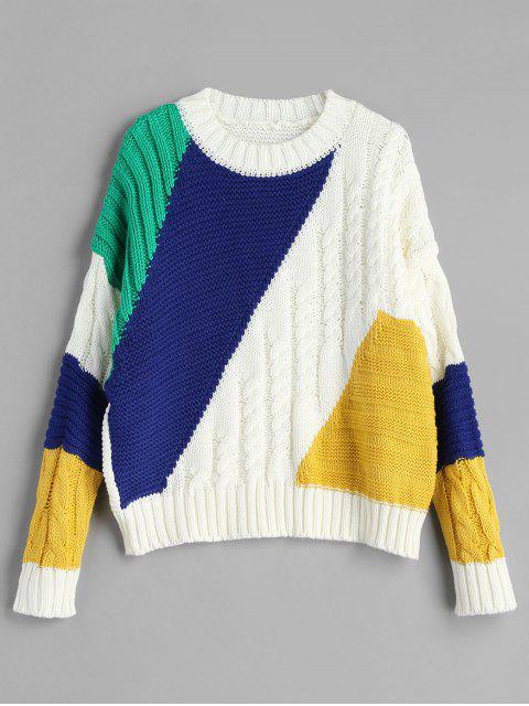 sale Cable Color Block Drop Shoulder Sweater - MULTI ONE SIZE Mobile