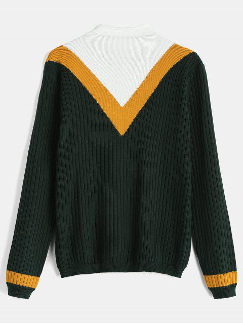 womens Color Block Ribbed Tricolor Chevron Sweater - DEEP GREEN ONE SIZE Mobile