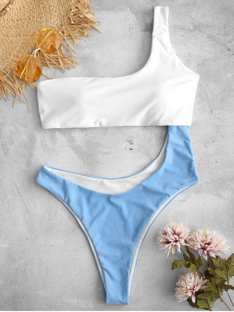 ZAFUL Cut Out Contrast Bañador de una pieza - Azul de Seda M Mobile