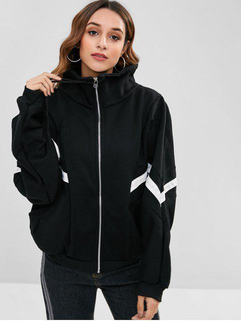 latest Oversized Zip Up Contrast Jacket - BLACK M Mobile