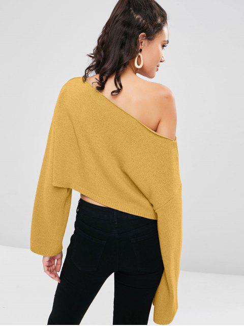 ZAFUL Camisola de Colheita de Ombro com Gola Irregular Cortado - Ouro Laranja Um Tamanho Mobile