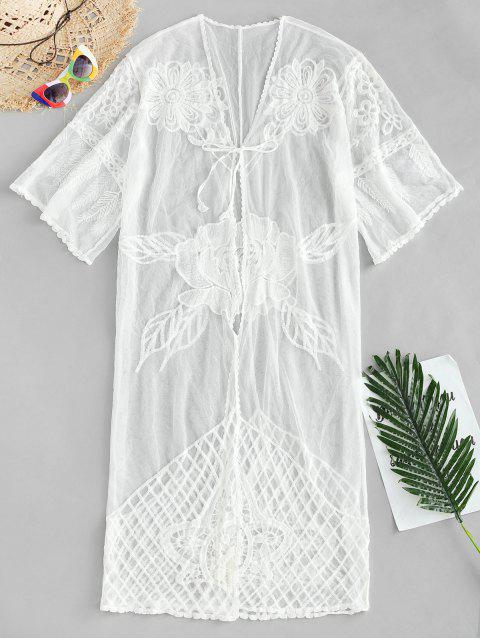 chic Tie Front Sheer Cover Up - WHITE ONE SIZE Mobile
