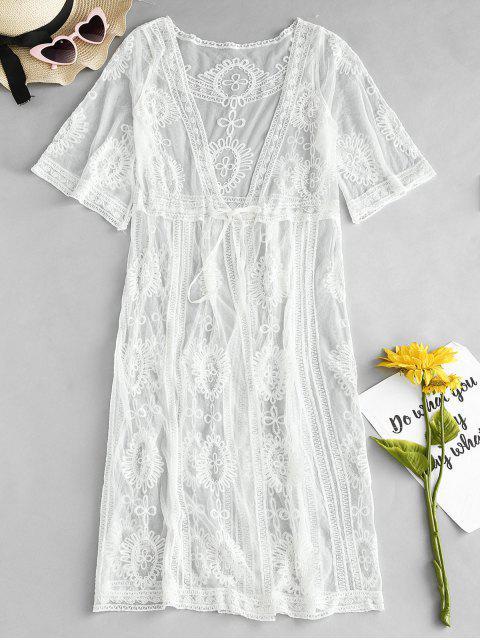 Ver Thru Kimono Cover Up - Blanco Talla única Mobile