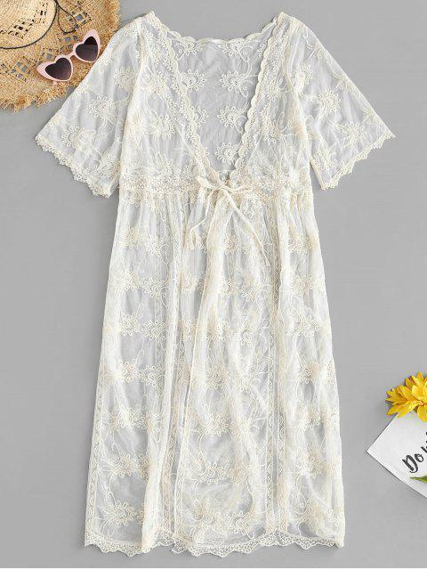 sale Lace Kimono Cover Up - BEIGE ONE SIZE Mobile