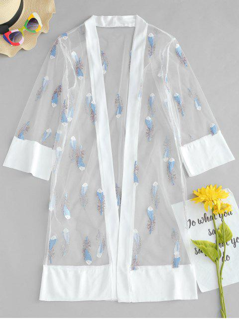 outfits Feather Embroidered Cover Up - WHITE ONE SIZE Mobile