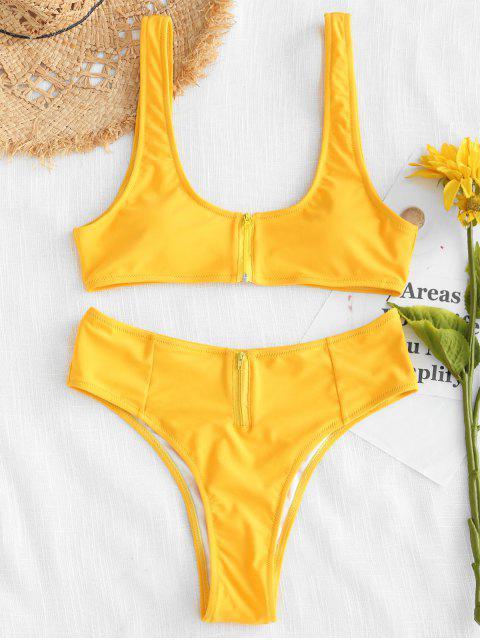 ZAFUL Ensemble Bikini Taille Haute Zipper - Jaune Clair M Mobile