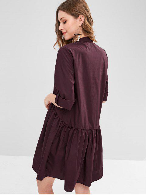 online Roll Tab Sleeve Smock Shirt Dress - VELVET MAROON L Mobile