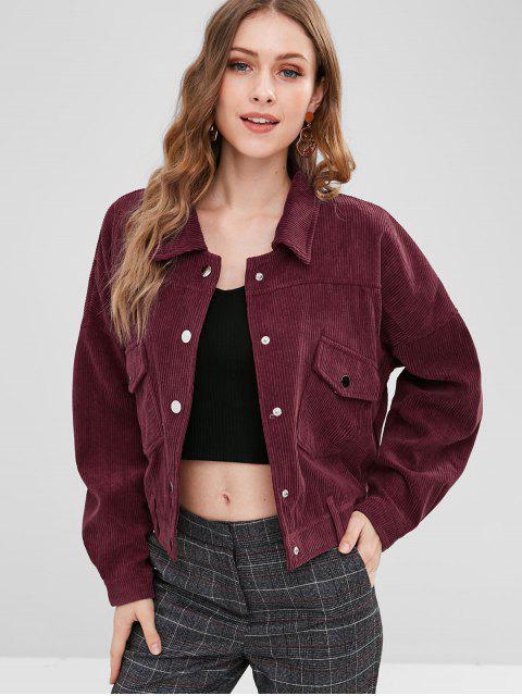 shops Drop Shoulder Pocket Corduroy Jacket - RED WINE M Mobile
