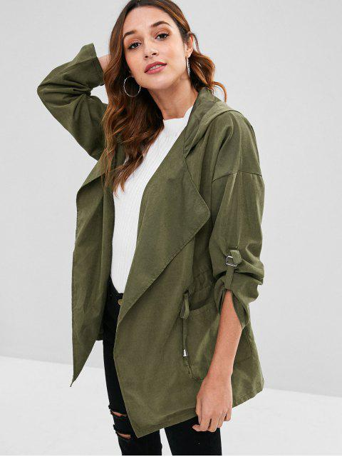 hot Hooded Drawstring Tunic Coat - ARMY GREEN XL Mobile
