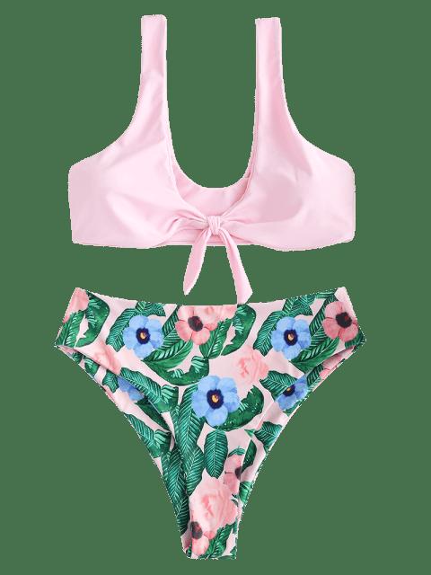 ladies ZAFUL Knot Flower Leaves Tank Bikini Set - LIGHT PINK M Mobile