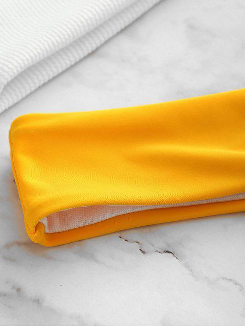 trendy ZAFUL Ribbed Color Block Bikini Set - BRIGHT YELLOW L Mobile