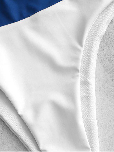 sale ZAFUL Two Tone High Cut Bikini Set - WHITE L Mobile