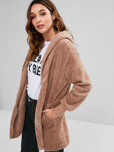 Hooded Front Pockets Fluffy Jacket - Khaki L