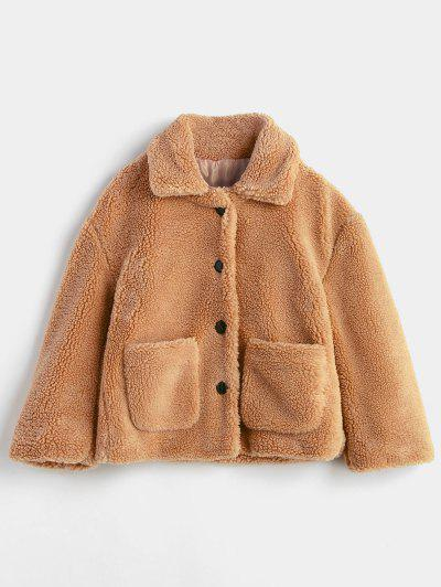 Fluffy Patch Pockets Faux Fur Winer Coat - Brown S