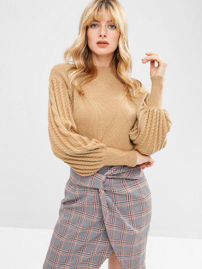c972d45f8210 High Neck Lantern Sleeve Sweater - Khaki S