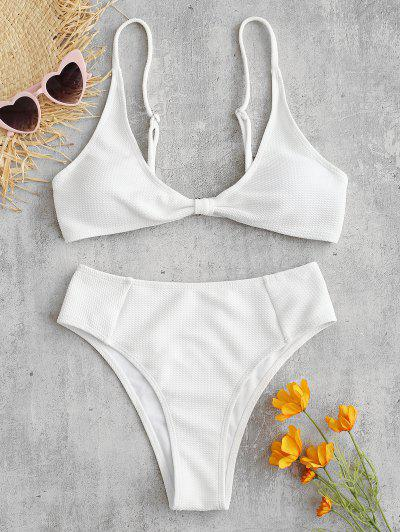 31f1de3493743 ZAFUL Textured Twisted High Waisted Bikini Set - White M