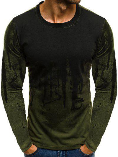 Ink Painting Print Long Sleeve T-shirt - Army Green L
