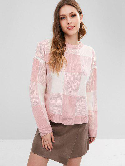 Drop Shoulder Plaid Oversized Sweater - Pink