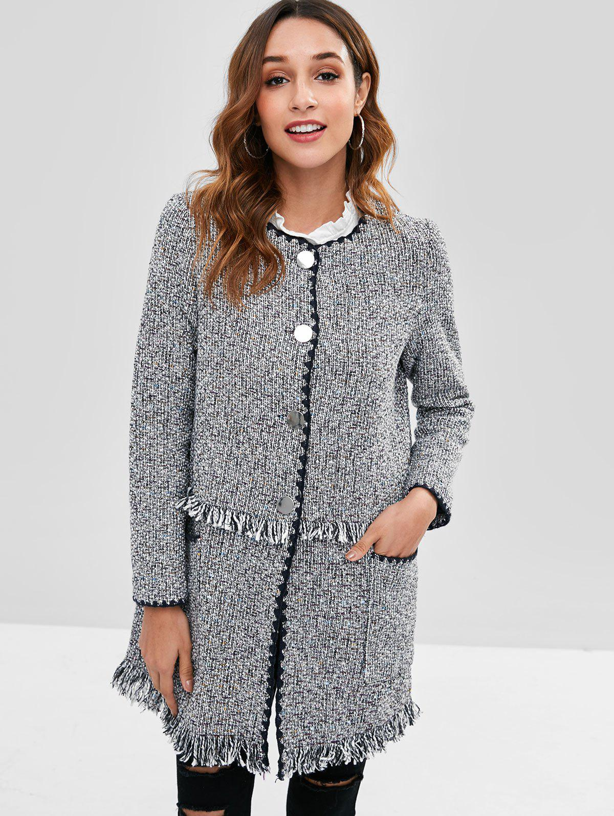 Button Up Frayed Tweed Coat