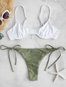 ZAFUL Colour Block String Bikini Set - الجيش الأخضر S