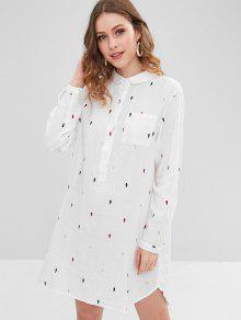 فستان بنمط مطرز - أبيض