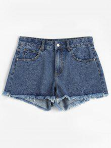ZAFUL Frayed Denim Shorts - أزرق L