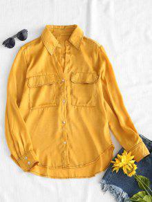 قميص بطية جيوب عالية - بني ذهبي M