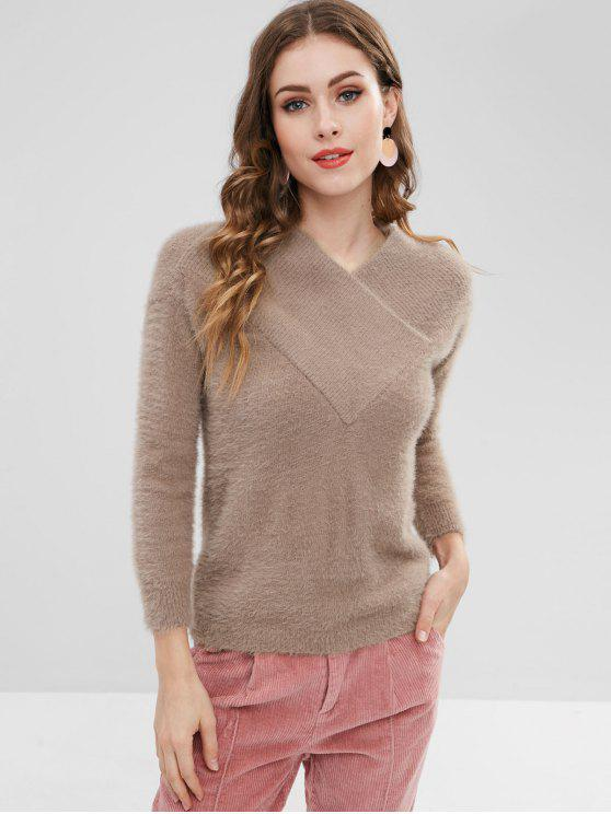 best V Neck Overlap Sweater - TAN ONE SIZE