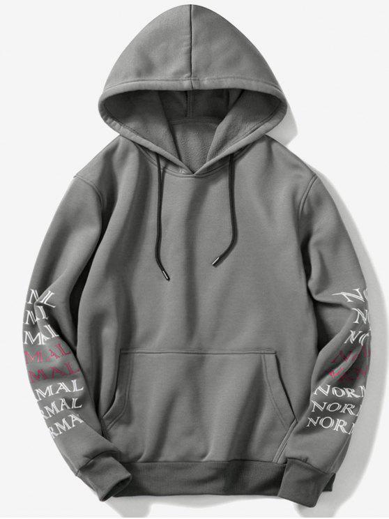 fashion Sleeve Letters Pocket Fleece Hoodie - DARK GRAY L