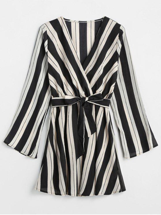 outfit V Neck Striped Belted Dress - BLACK S