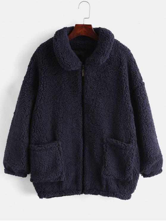 ladies Fluffy Faux Fur Winter Coat - CADETBLUE M