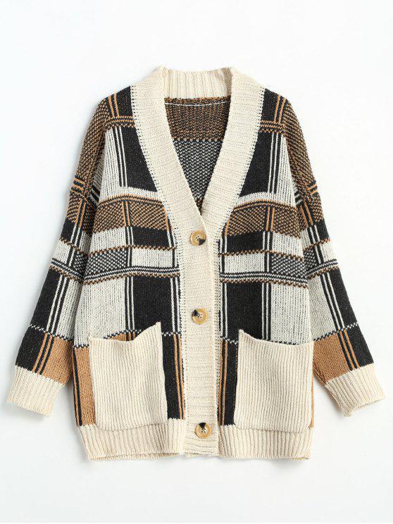 chic Plaid Drop Shoulder Design Buttoned Cardigan - MULTI ONE SIZE