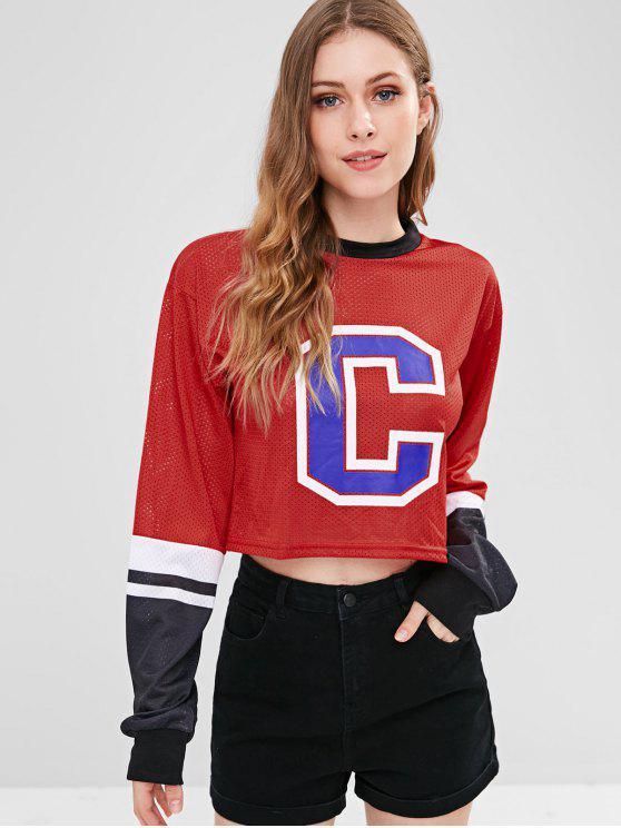 best Letter Perforated Drop Shoulder Crop Sweatshirt - RED L