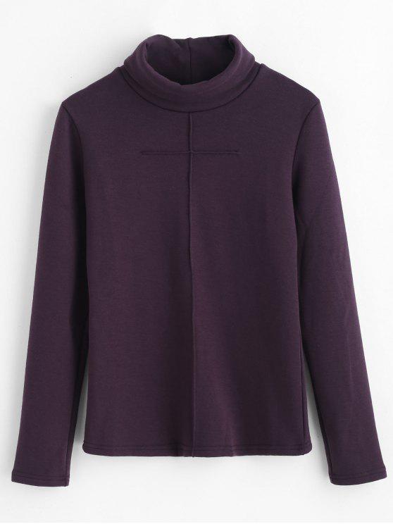 Sweat-shirt Simple à Col Roulé - Aubergine XL