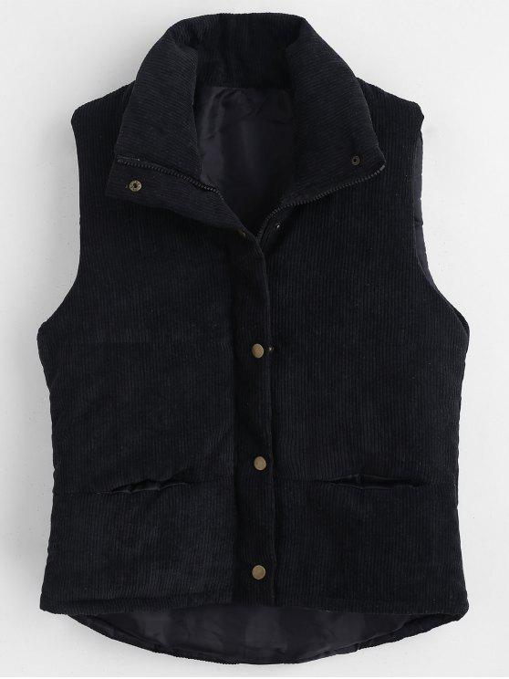 fashion Padded Zipper Corduroy Waistcoat - BLACK XL