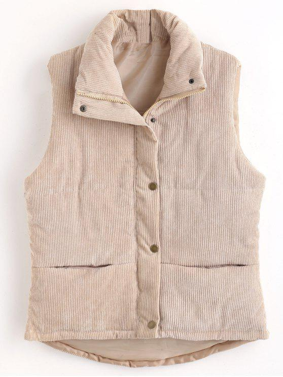 fancy Padded Zipper Corduroy Waistcoat - LIGHT KHAKI M