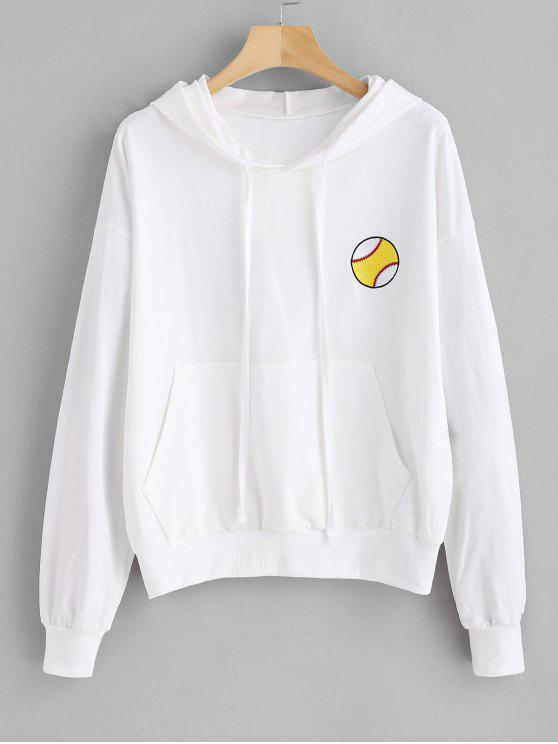 womens Pouch Pocket Football Embroidered Hoodie - WHITE ONE SIZE