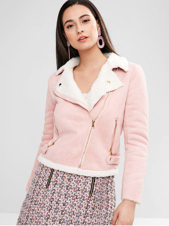 latest Faux Suede Zippers Boxy Coat - LIGHT PINK L