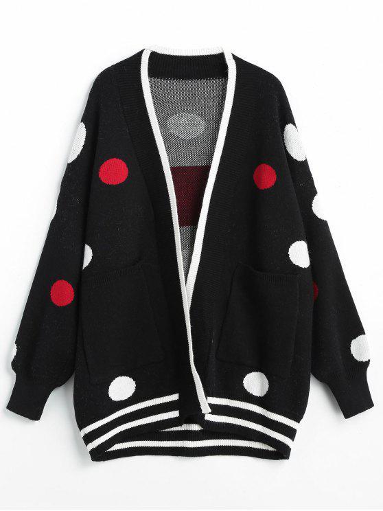 fashion Polka Dot Jacquard Open Front Cardigan - BLACK ONE SIZE