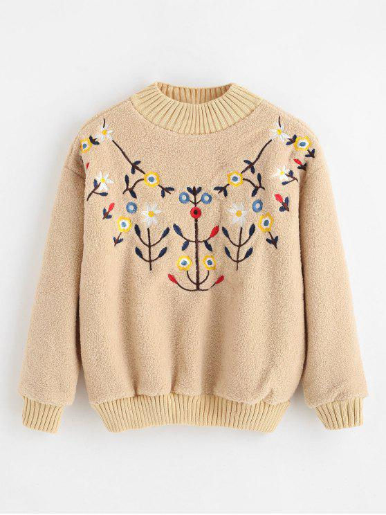 women Floral Embroidered Faux Fur Sweatshirt - BEIGE XL