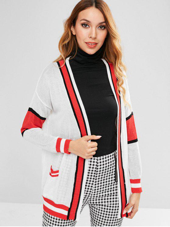 shop Contrast See Through Pocket Cardigan - WHITE ONE SIZE