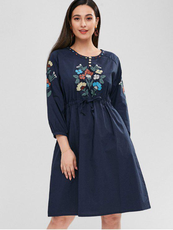 trendy Raglan Sleeve Flower Embroidered Dress - NAVY BLUE ONE SIZE