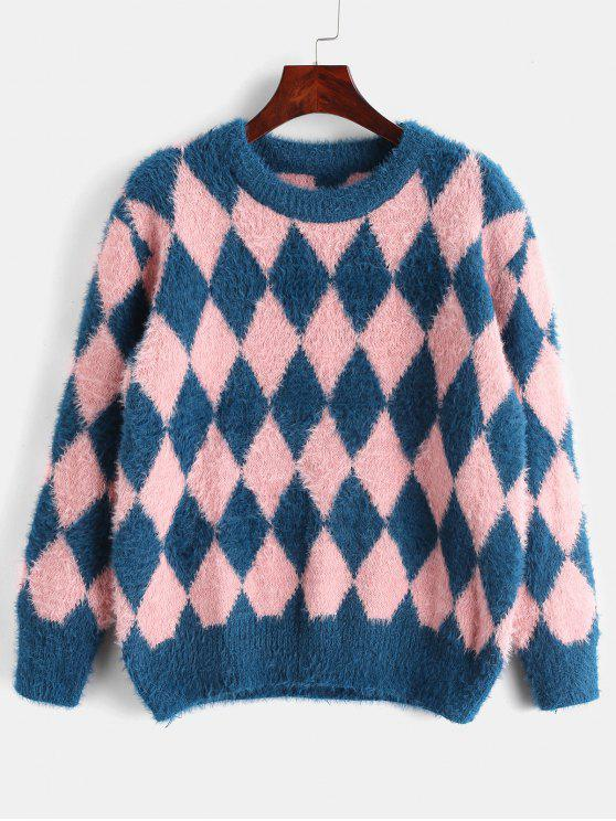 fashion Fuzzy Argyle Knit Sweater - MULTI-A ONE SIZE
