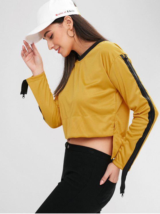 fancy Asymmetric Slit Zip Sleeve Sweatshirt - ORANGE GOLD XL