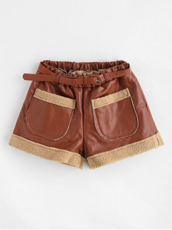women's Belted Faux Leather Pocket Shorts - BROWN XL