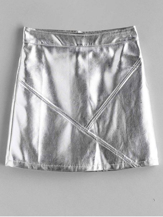 new Metallic Mini A Line Skirt - SILVER M