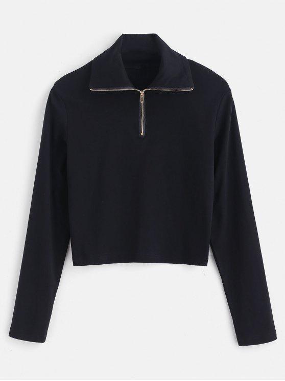 Camiseta corta manga larga con cremallera - Negro S