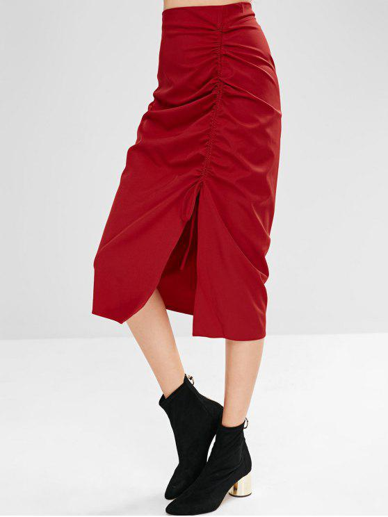 shops Solid Color Ruched Skirt with Slit - RED L