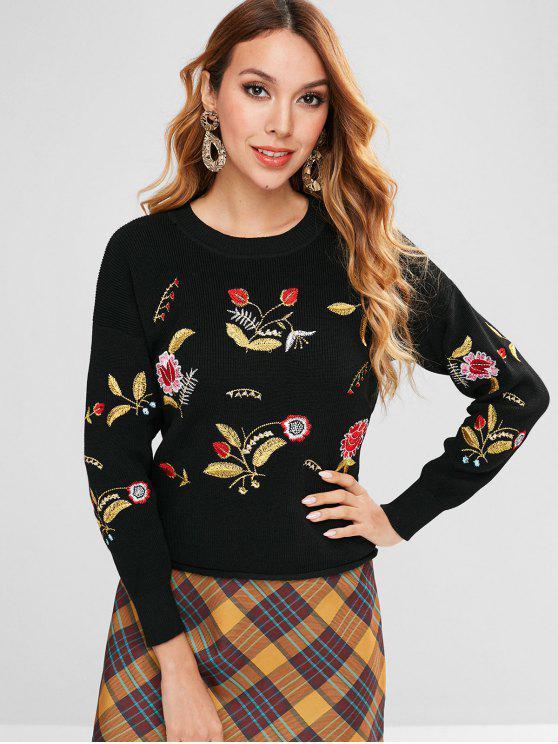 affordable Embroidery Drop Shoulder Boxy Sweater - BLACK ONE SIZE