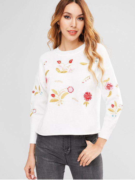 fashion Embroidered Drop Shoulder Sweater - WHITE ONE SIZE